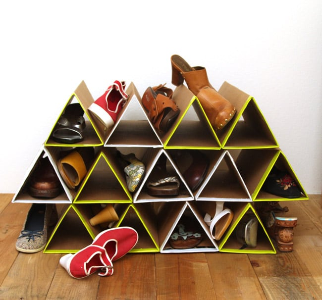SUPER space saving and surprisingly sturdy DIY shoe rack!