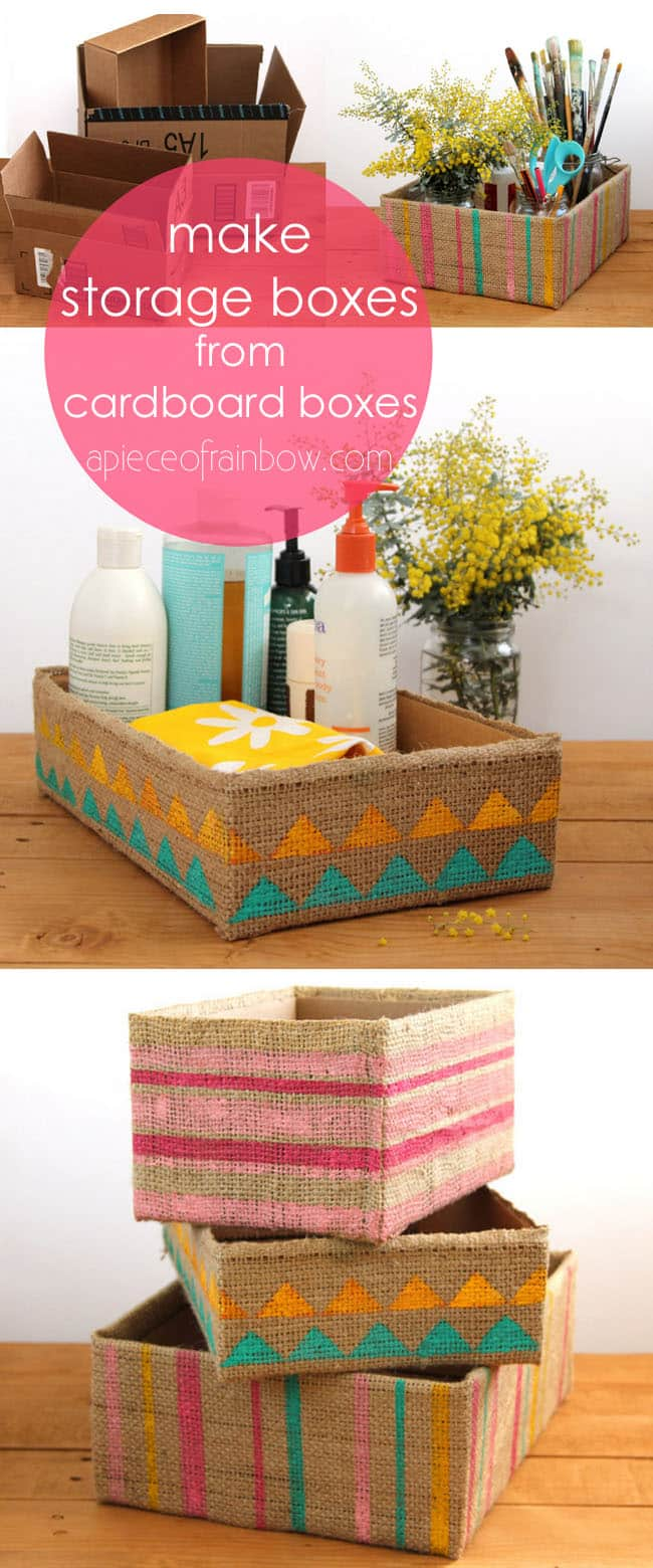 Up-cycled cardboard box into beautiful farmhouse & boho stylestorage box easily in 5 minutes! Stylish organizing for almost free! Detailed DIY tutorial. - A Piece of Rainbow #livingroom #livingroomideas #diy #homedecor #homedecorideas #diyhomedecor #organizing #organization #organize #storage #farmhouse #farmhousestyle #farmhousedecor #craft #crafting #upcycle #recycle #shabbychic #vintage #rustic #rusticdecor