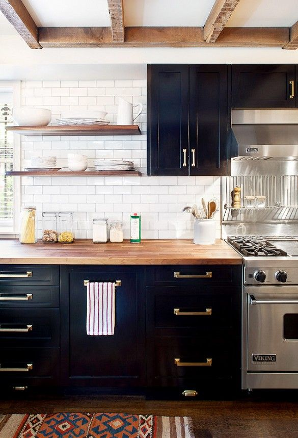Black with brass accents for kitchen