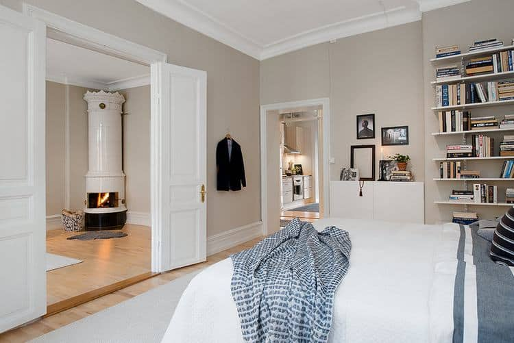 Scandinavian bedroom in cream tones