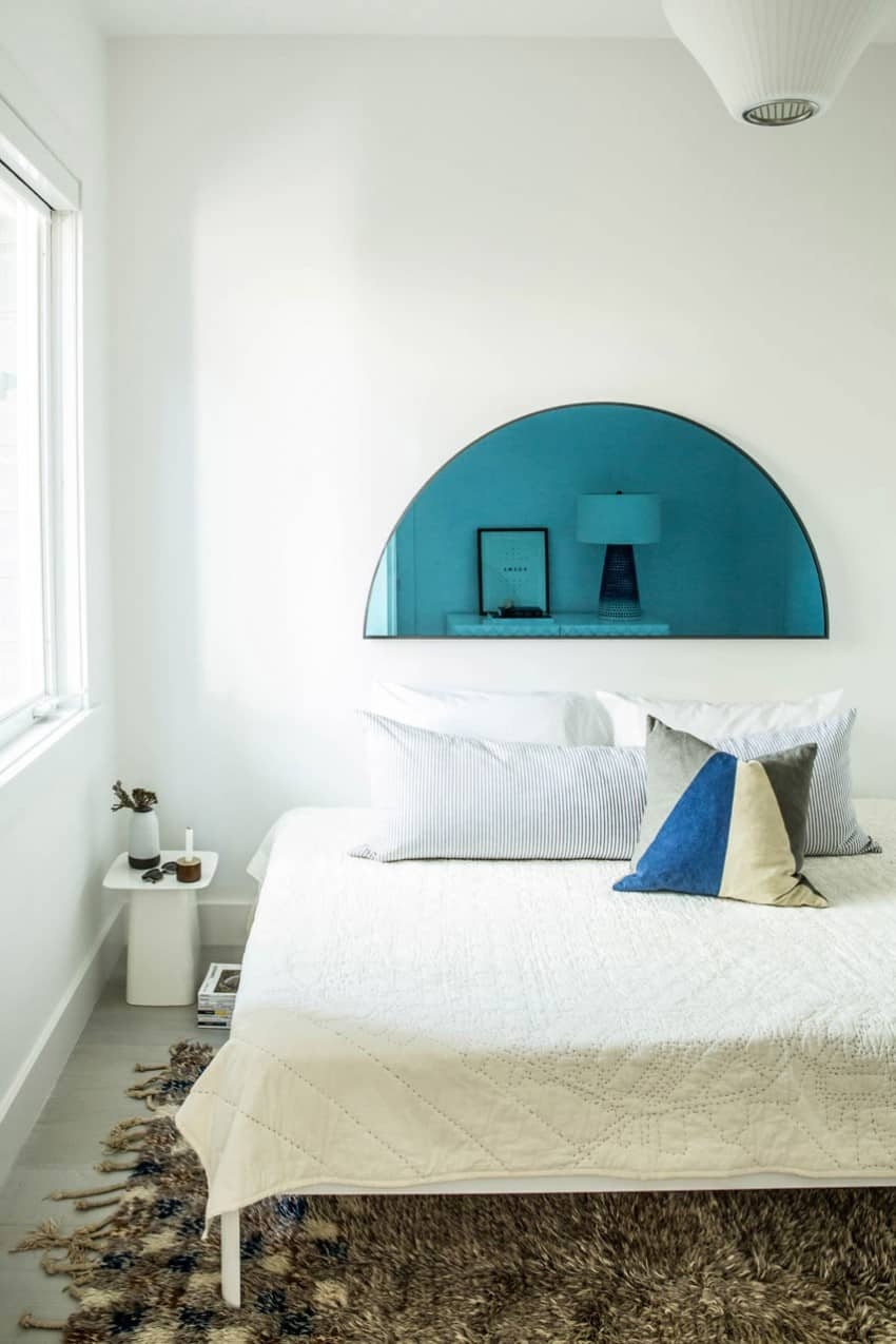 Scandinavian bedroom with bright accent