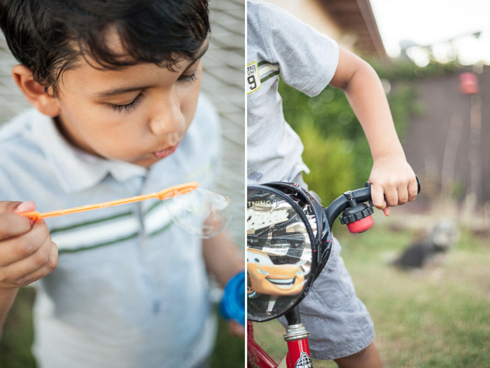 A diptych of pictures of children playing