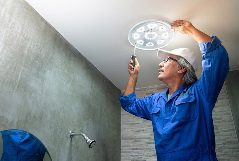 Safely Changing Lights in Bathroom